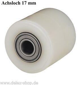 Hubwagenrad-82-mm-Polyamid-Breite-75-mm-Achsloch-17-mm-ohne-Bereifung-Rad-Rolle
