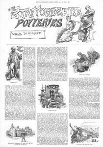 1884-Antique-Print-STAFFORDSHIRE-Potteries-Wedgwood-Gold-Burnishers-61