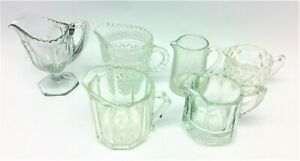 Mixed-Vintage-Lot-Used-Clear-Glass-Kitchen-Small-Pitchers-Creamers-Serving