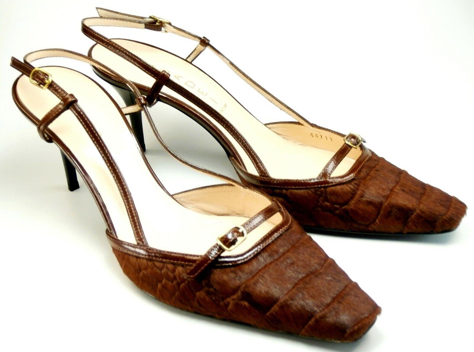 CASADEI Sandaletten Gr. 39 braun Fell Kroko Retro Damen Schuhe Slingbacks Pumps