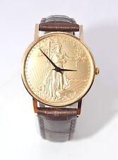 W607-Vintage Ladies Standing Liberty Dial 14k Coin Bezel Case Quartz Watch