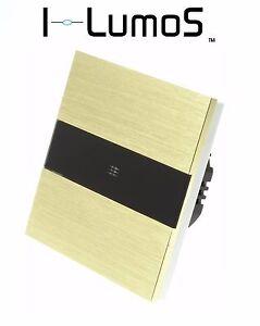 I LumoS Luxury Gold Brushed Aluminium Panel Touch On/Off LED Light Switches