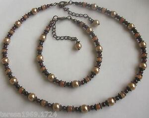 Antique-bronze-tone-glass-pearl-beaded-necklace-choker-bracelet-jewellery-set