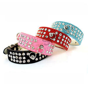 Strasshalsband-Hundehalsband-Halsband-im-Wildleder-Optik-Kunstleder