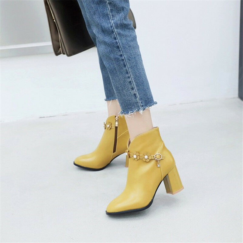 Elegant Women Floral Decor Ankle Boots Pointy Toe Block Mid Heel Leather Booties