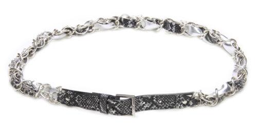 Black Silver Chrome Chain Snakeskin Rock Belt 86-96 cm ZX38 34-38 inch waist