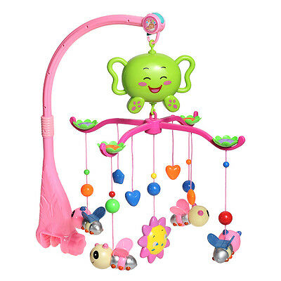 Baby Crib Bed Bell Mobiles Holder Bracket 12 Melodies Music 4 Bees Cute Toy