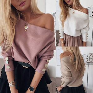 Women-Off-Shoulder-Knitted-Loose-Blouse-Tops-Ladies-Long-Sleeve-Knit-Shirt-Top