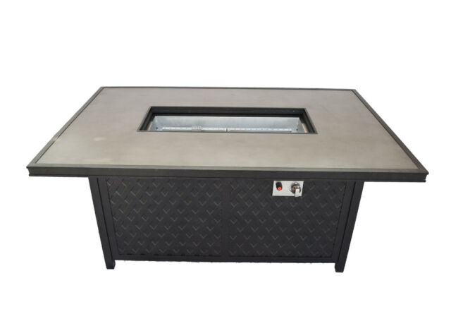 Propane Fire Pit Coffee Height Rectangular Table Outdoor Cast Aluminum Patio