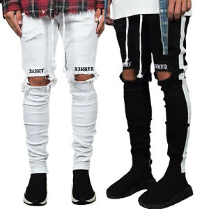 Mens-Summer-Ripped-Jeans-Skinny-Destroyed-Biker-Denim-Pants-Slim-Long-Trousers