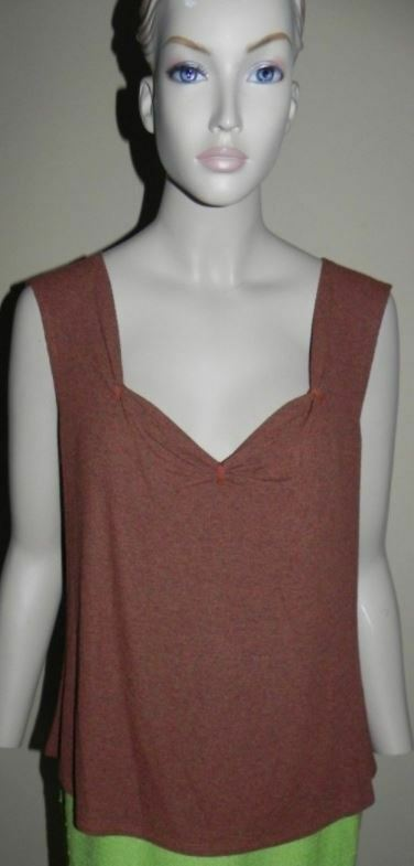 St John Henna braun Multi Knit Sleeveless Shell Top XL