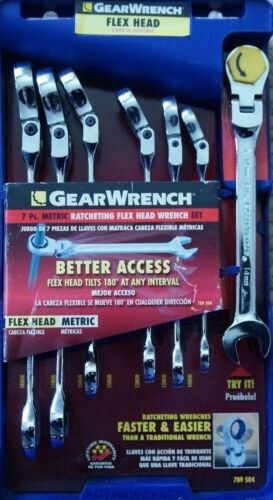 GEARWRENCH789504 7 PIECE METRIC RATCHETING FLEX HEAD WRENCH SET 10-18 MM