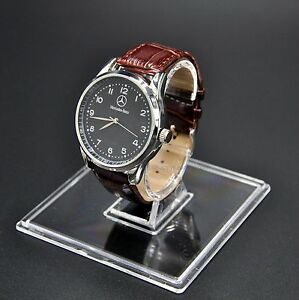 Mercedes-Benz-Mens-Watch-Stainless-Steel-Brown-Leather-Strap-Black-Dial-Boxed