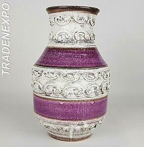 Vintage-Retro-60s-70s-ALLA-MODA-Purple-Relief-Vase-Italian-Pottery-Fat-Lava-Era