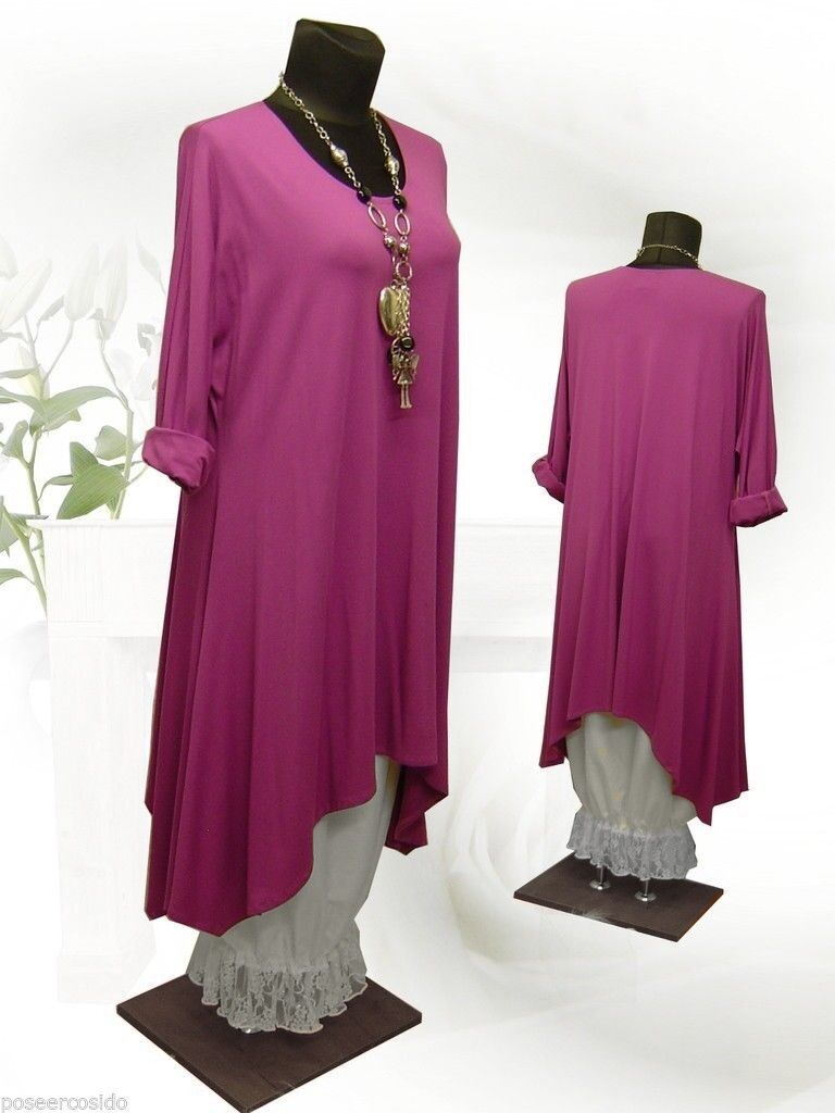 PoCo DeSiGn LAGENLOOK Dream Long Tunika Long-Shirt Kleid lila L-XL-XXL-XXXL
