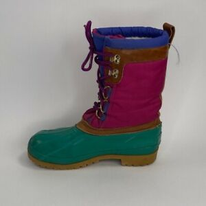 Womens Duck Boots Lace Up Colorblock Waterproof Winter Snow Rain Boots Shoes