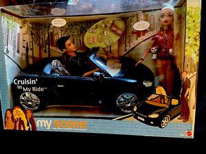 MY-SCENE-CRUISIN-IN-MY-RIDE-CAR-2-DOLLS-BARBIE-amp-ELLIS-NRFB-NEW-MATTEL-2003
