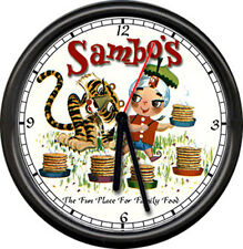 Sambo's Restaurant Pancake Tiger India Boy Diner Style Sign Black Rim Wall Clock