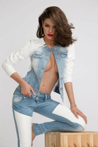 By Alina 2-Divisorio Jeans Set Jeans a Sigaretta Jeans Giacca Pelle Look Bianco 34-38 #b130