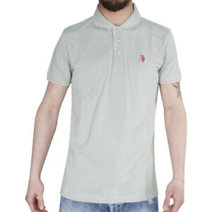 Polo-Uomo-Sport-Cotone-Colletto-Righe-Maniche-Corte-3-Bottoni-T-Shirt-Grigio