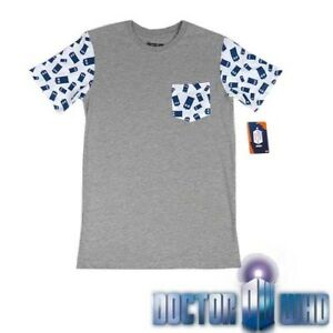 NEW-Men-Doctor-Who-Grey-Tee-T-Shirt-With-Pocket-Size-XS-S-M-L-XL-XXL