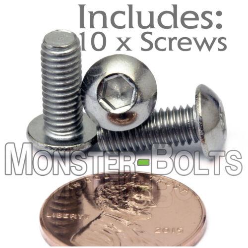 "Qty 10 #10-32 x 1//2/"" Stainless Steel BUTTON HEAD Socket Cap Screws 18-8 A2"