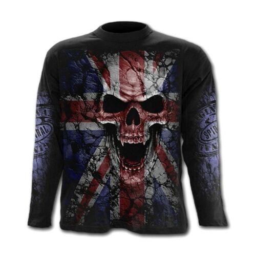 Spiral Union Wrath Chemise Manches Longues Top Jack UK Flag Skull Monstre Gothique #3221 359