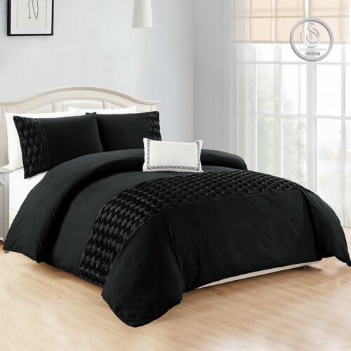 3 Piece Luxury Black Duvet Cover Quilt Cover Bedding Set Pillow Shams Pintuck