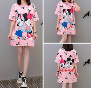New Minnie Mouse Women Dress Ladies Summer Mini T-Shirt Dress Loose Casual 2020