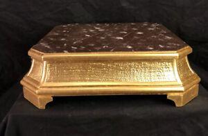 Base legno indorata foglia oro scolpita a mano per santi 23x23cm