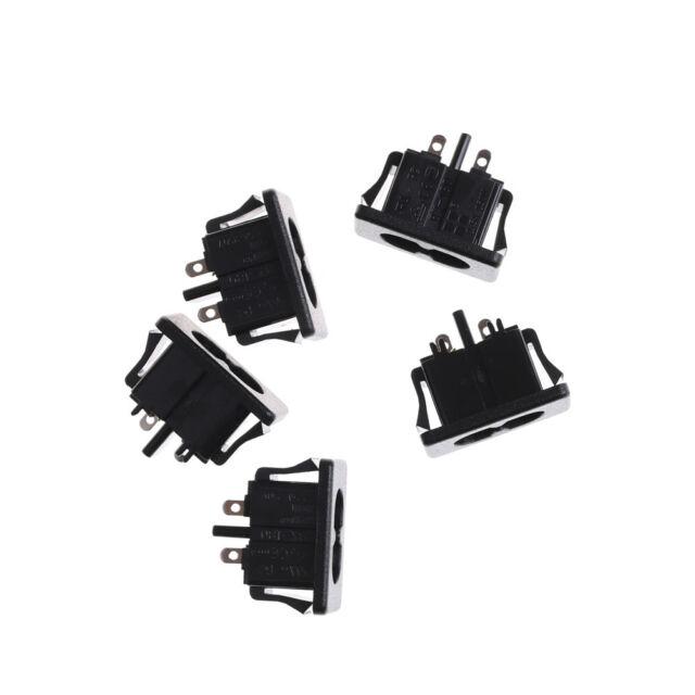 5Pcs AC250V 2.5A IEC320 C8 Male 2 Pins Power Inlet Socket Panel Embedded  0U