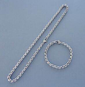 3-4mm Stainless Steel Necklace Oval Link chain Men Women Gold Silver