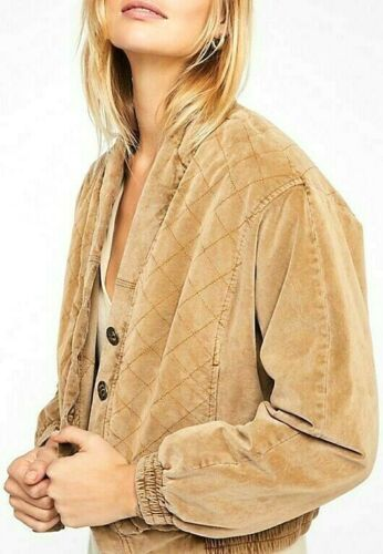 Free People Main Squeeze Jacket Quilted Bomber V-Neck Button Up OB900152