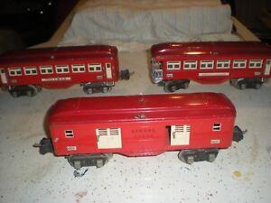 lionel-prewar-2600-pullman-2601-observation-2602-baggage-cars-NO-BOX