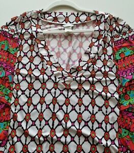 Trina Turk Women's Short Sleeve Tunic Blouse Small S Colorful V Neck Stretch