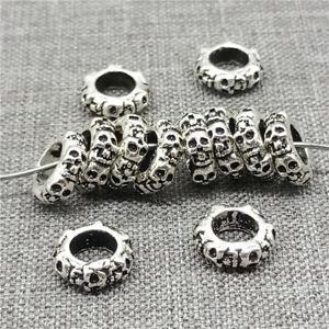 5pcs-of-925-Sterling-Silver-6-sided-Skull-Beads-for-European-Bracelet