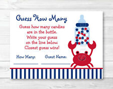 """Nautical Crab Baby Shower """"Guess How Many?"""" Game Cards"""