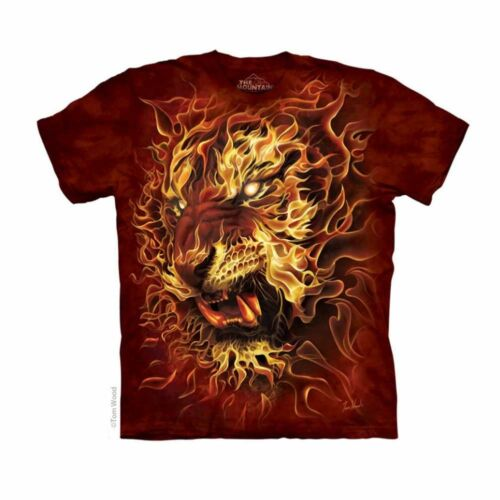 NEW FIRE TIGER Flames Big Cats The Mountain T Shirt