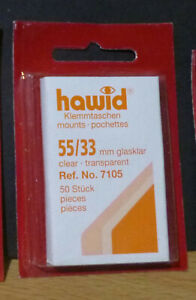 HAWID-STAMP-MOUNTS-CLEAR-Pack-of-50-Individual-55mm-x-33mm-Ref-No-7105