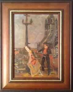 Tableau-ancien-impressionnisme-Bretagne-Calvaire-Bretonne-Breton-Huile-signee