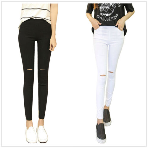 New Women High Waist Cut Out Knee Stretch Leggings Slim Trouser Size 8 10 12 14