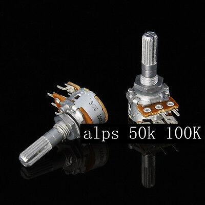1pc Japan ALPS RK16 Volume Potentiometer Dual 50K Knurled 25mm