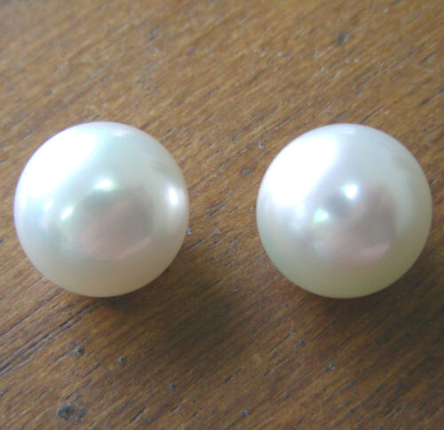 13.2mm! WHITE SOUTH SEA PEARLS PAIR UNDRILLED 100% UNTREATED NATURAL COLOUR+CERT