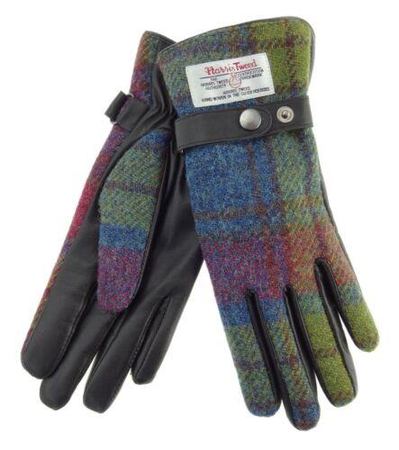 Ladies Authentic Harris Tweed & Leather Gloves Buchanan Tartan LB3001 COL46