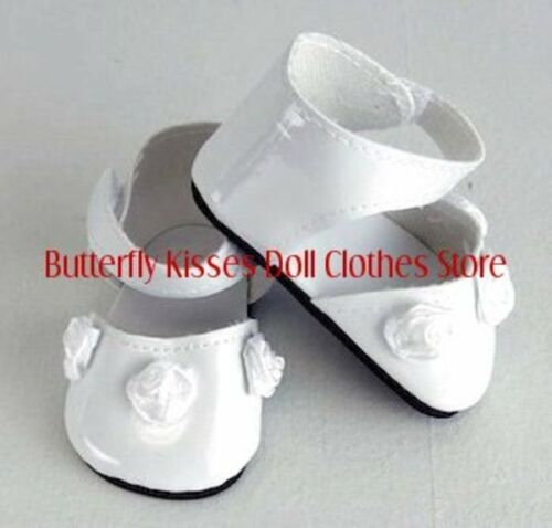 White Rosebud Ankle Strap Shoes 18 in Doll Clothes Fits American Girl