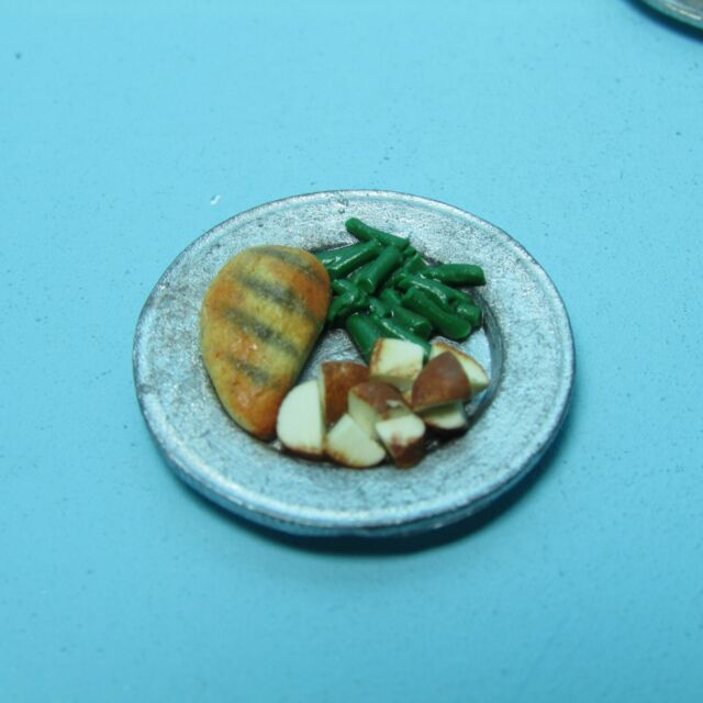 1:6 Dollhouse Miniature Egg Bread Ham Mushroom Dinner Food Plate Deco Barbie
