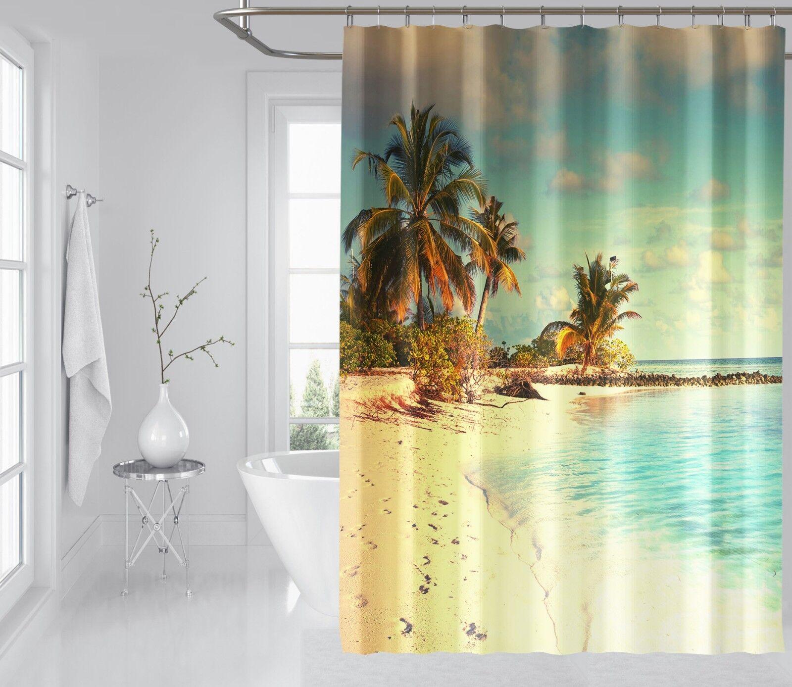3D Palm Tree Beach 7 Rideau de Douche Imperméable Fibre Salle De Bain Windows Toilette