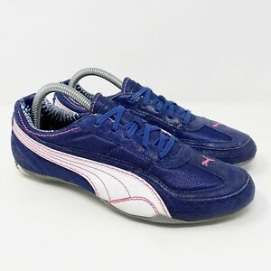Puma Low Profile Flat Casual Shoes Sneakers Navy Blue Pink Womens Size 8