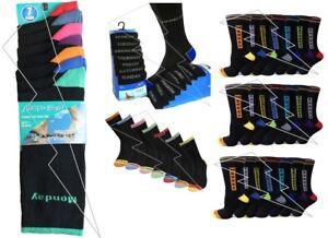 New Men/'s Designer 7 Days of The Week Cotton Fashion Fun Novelty Socks UK 6-11
