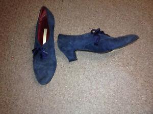 PERRY-ELLIS-Vintage-blue-suede-Oxford-Mules-Pilgrim-Heels-Shoes-7-5AA